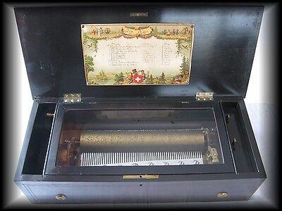 antike Walzen-Spieluhr, Schweizer Spieluhr, Spieldose ca. 1870-1890, 10 Titel