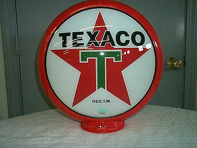 TEXACO reproduction Gas Pump Globe 2 GLASS LENSES in a Red plastic body  NEW