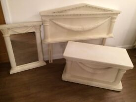 Double headboard with matching mirror and ottoman/blanket box