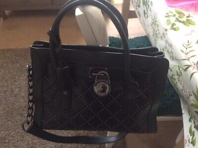 BLACK MICHAEL KORS LADIES HANDBAG NEW - BLACK INTERIOR. BAG WITH STUDDED DETAIL