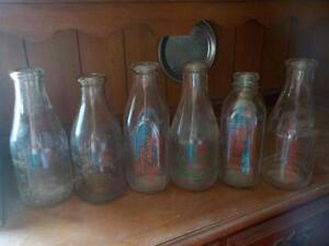 Old Milk Bottles Quarts and Pints Lot of Seven Bottles