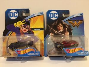 DC HOTWHEELS BATGIRL AND WONDER WOMAN CHARACTER CARS