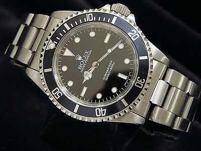 Rolex Submariner Stainless Steel Watch No Date Sub w/ Black Dial & Bezel 14060