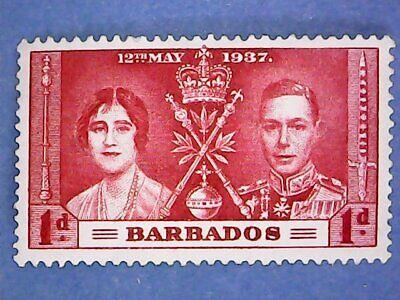 Barbados. KGVI 1937 1d Coron'tion. SG245. Wmk Mult Script CA. P14. MH.