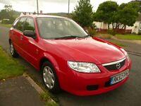 Car, Mazda 323, 1.6 Petrol, MOT til 27/9/16, 101k miles, Red
