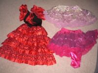 GIRLS PARTY/DANCE DRESS FLAMENCO STYLE PLUS 2 FRILLY SKIRTS