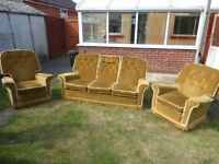 SETTEE & TWO ARM CHAIRS