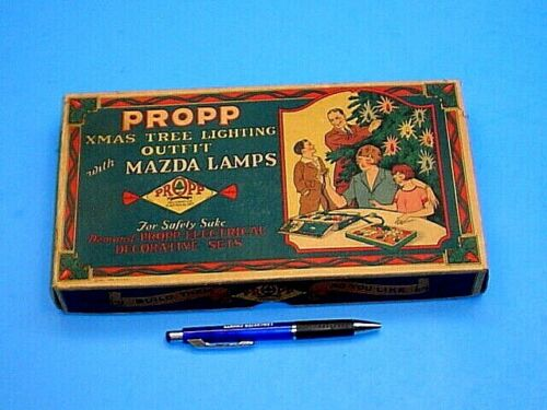 VERY NICE VINTAGE / ANTIQUE 1927 PROPP CHRISTMAS TREE LIGHTING OUTFIT BOX