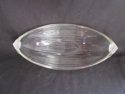 MCM Long Ribbed Crystal Bowl Frosted Rolled Tab Handles, 13.5