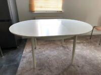 Retro 70's White Wood Dining Room Table (no chairs) Extendable into a large table