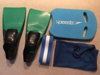 Swimming Flippers, Kickboard, Float and Bag