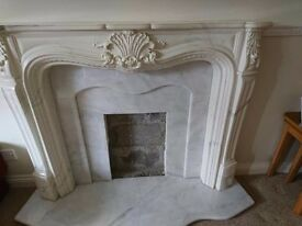 Selling Louis Marble Fireplace with Marble back and Hearth, with choice of two fires.
