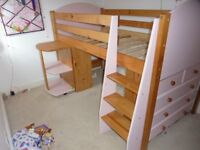 Midsleeper bed with drawers, desk and bookshelves