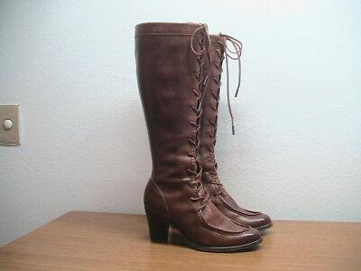 Womens 7.5 B FRYE Fiona 77093 Brown Tall Steampunk Moc Toe Tall Boots, $398.00 Womens Fiona Moc