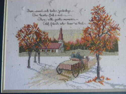 Completed Elsa Williams Cross Stitch TENDER YESTERDAYS Church Wagon 18x14 - New