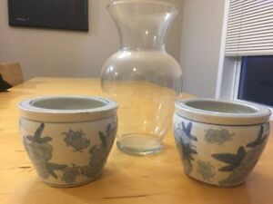 hand crafted plant /flower pots and vase