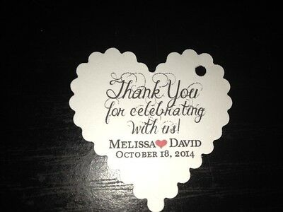Wedding Favor Tags Thank You Celebrating Personalized Heart Shape Hang Tag
