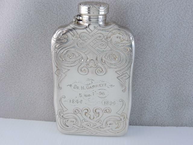 RARE ANTIQUE 1896 TIFFANY & CO STERLING LIQUOR FLASK BOTTLE ART NOUVEAU DESIGN