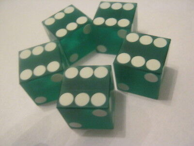 - Green Casino Dice 19mm sand finish with feather edge