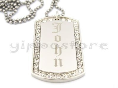 Custom Engraved Stainless Steel Personalized CZ Dog Tag Necklace Free Engraving - Custom Dog Tag Necklace
