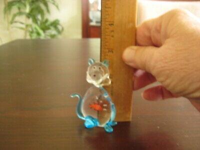 "Murano Cat/Kitten W/Goldfish in Belly Approx 2 1/2"" Tall"