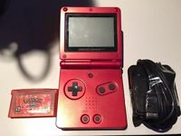 Red Gameboy Advance SP with Pokemon Fire Red Game