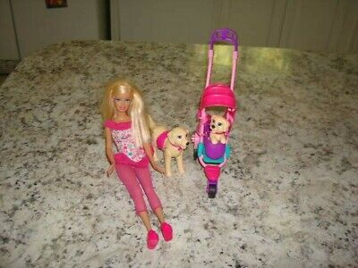 Barbie Strollin Pups Playset w/doll, stroller, Taffy the dog and puppy