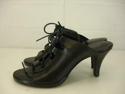 Womens 9 M Gianni Bini Black Leather Lace-Up Sandals Shoes Pump High Heel