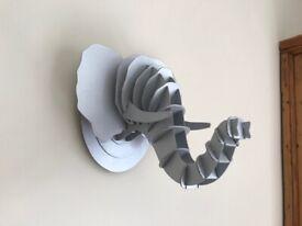 3D Cardboard Elephant's Head Wall Art Decoration