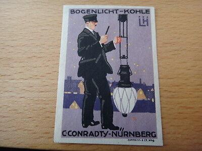 REKLAMEMARKE VIGNETTE BOGENLICHT-KOHLE CONRADTY NÜRNBERG LUDWIG HOHLWEIN 1913