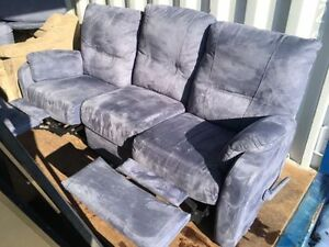 Blue Suede/Microfibre Reclining Sofa and Armchair - $320 OBO