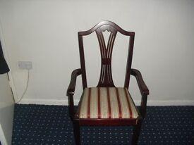 2 x Dining & 2 x Carver Dark Wood Dining Chairs