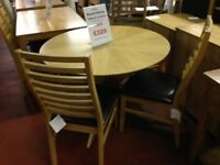 New 3ft round dining table with 4 new padded chairs only £329 in store now