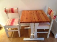 Shabby Chic Oak Dining Table and Two Chairs