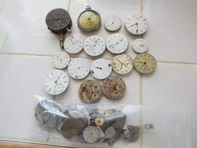 Vintage Lot Of 16 Pocket Watch Movements And Dials Zenith-B.W. Raymond-Waltham