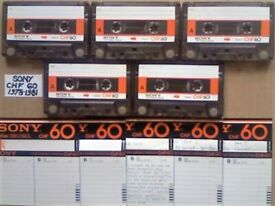 JL CHF#6 BARGAIN BIN 5x SONY CHF 60 1978-1981 CASSETTE TAPES £7.50 FREE P&P W/ CARDS CASES LABELS