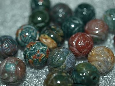 Vintage Carved Chinese Green Bloodstone Stone Round Bead w/Shou Design 14mm