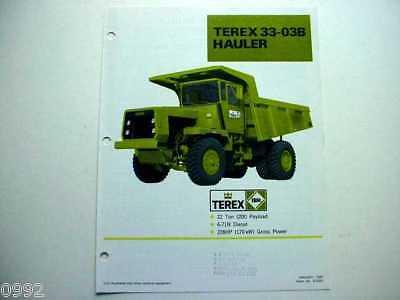 Terex 33-03b Euclid Hauler Truck Literature