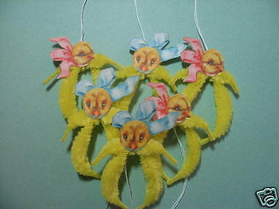 PRIMITIVE VINTAGE STYLE EASTER CHICK ORNAMENTS CHENILLE FEATHER TREE