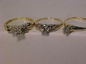 3 OLDER DIAMOND ENGAGEMENT RINGS.VARIOUS SIZES AND PRICES.