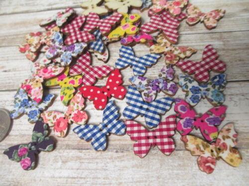BUTTERFLY BUTTONS Butterflies lot of 25 Wood Wooden Printed Art Assorted Designs
