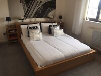 Malm Bed with Storage, shelfs and boxes for end of bed.