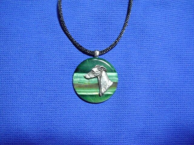 Whippet Greyhound Pewter Tiger Eye necklace by Cindy A. Conter Dog Jewelry Hound