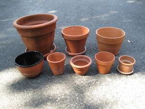 Set of 8 Clay Flower Pots