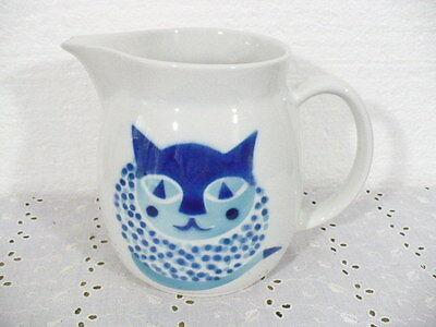 "Arabia Finland Huge 64oz / 8 cup White Pitcher w/ Blue Cat design 6-1/4"" tall"