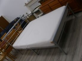 silver frame double bed with mattress
