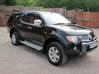2008 08 Mitsubishi L200 2.5DI-D 4WD Double Cab Pickup auto Warrior BLACK