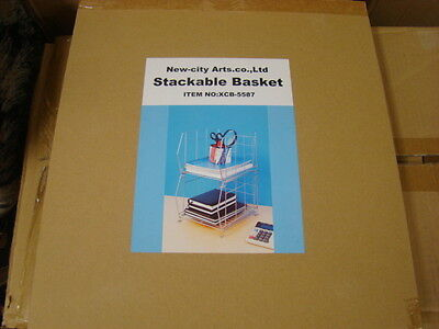 Foldable Double Stackable Basket For Book Organizercomputer Shelfcddvdsilver