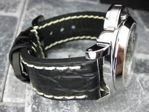 BIG-GATOR-24mm-Black-Grain-LEATHER-STRAP-Watch-Band-LUMINOR-Buckle-24