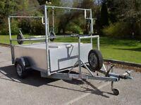 Car trailer, Braked Fully Galvanised lazer dinghy trailer large box camping canoe kayak